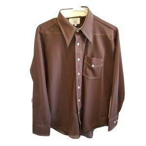 Vintage 1970s Wingtip Semi-sheer Button Up Shirt